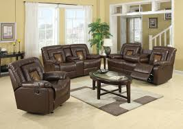 Brown Leather Recliner Sofa Set Roundhill Furniture Kmax 2 Toned Pu Dual Reclining