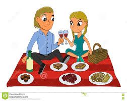 cartoon white wine young couple picnic cartoon stock vector image 78887940