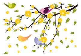 tree branch with flying birds and leaves vinyl decor