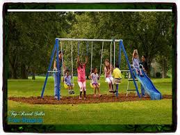 Metal Playsets Amazon Com Playground Metal Swing Set Swingset Outdoor Play Slide