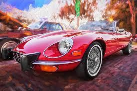1975 jaguar xke v12 convertible painted photograph by rich franco