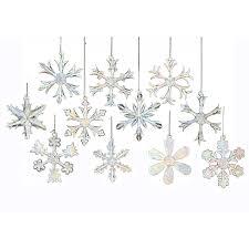 kurt adler 2 glass iridescent snowflake ornaments 12 set