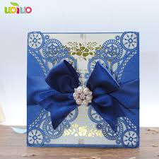 wedding invitations blue best sale laser cut navy blue folded custom paper wedding invitation