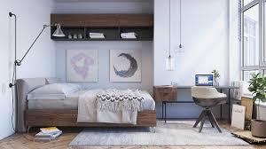 bedroom wooden table oak flooring bedroom interior scandinavian