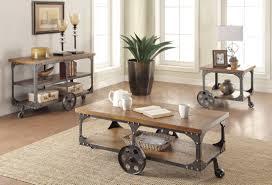 Livingroom Table Sets Coffee Side U0026 End Tables Rustic Wood U0026 Metal 3 Pc Occasional
