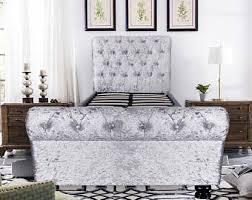Velvet Sleigh Bed Sleigh Bed Etsy