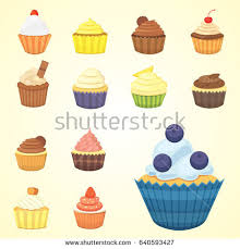 seamless pattern cupcakes hand drawing muffins stock vector