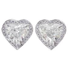 heart shaped diamond earrings 3 02 heart shape diamond halo platinum stud earrings at 1stdibs
