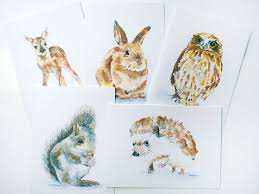 woodland animals watercolor note card set woodland fd