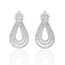 diamond dangle earrings ct diamond 18k white gold dangle earrings