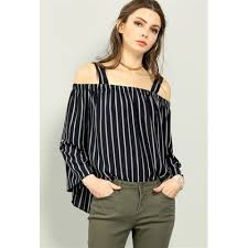 open shoulder blouse pinstripe open shoulder blouse navy dressy tops c7597 xp8gmzab