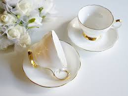 vintage teacup queen anne bone china plain white and gold