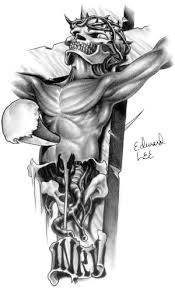 inri skull cross black and gray sle design by edward