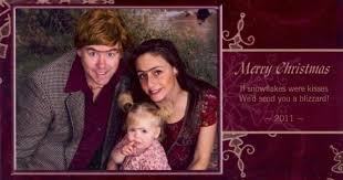 couple makes awkward christmas cards for 12 years