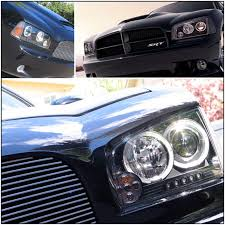 halo lights for 2013 dodge charger 05 10 dodge charger eye halo led projector headlights black