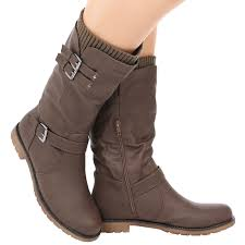 ladies brown biker boots womens shoes ladies mid calf low heel winter sock riding biker boots