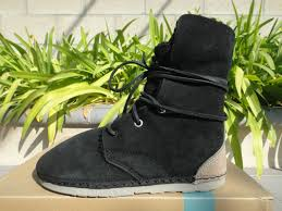 comfy otz troop black shearling boots leather laces mens us6
