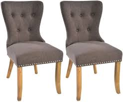 Dining Chairs Sale Uk Rowico Adele Button Back Tiara Grey Fabric Dining Chair Pair