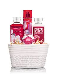 gift set japanese cherry blossom white basket gift set bath works