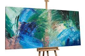 abstraktes xxl gemälde grün braun blau kunstloft