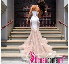 cheap tulle 2016 newest mermaid prom dress princess white lace blush pink
