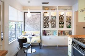 small space kitchen breakfast nook design with white finish glass