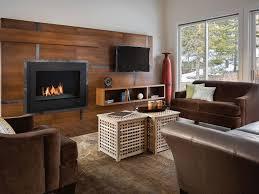 glass door tv gas fireplace dark gray floor white accent table