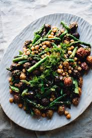 dill mustard roasted potato and asparagus salad with dill mustard dressing