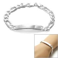 engravable id bracelet sterling silver 8mm engravable figaro chain id bracelet wholesale