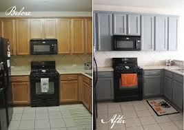 Painted Kitchen Cabinets Kitchen Engaging Painted Black Kitchen Cabinets Before And After