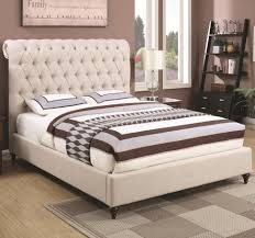 Family Furniture Bedroom Sets Coaster Devon Queen Upholstered Bed In Beige Fabric Dunk