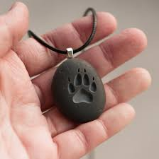 wolf paw print engraved necklace tiny pebbleglyph c