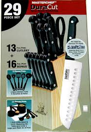 chef 29 piece knife kitchen set with wood block