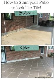 Refinishing Concrete Patio How To Stain Your Patio To Look Like Tile Tbt Patio Tile And