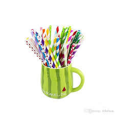 paper straws pack colorful chevron patterns paper straw drink paper