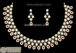 red stones gold necklace images 22k gold necklace earrings set with cz red stones 235 gs3170 jpg
