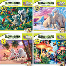 masterpieces 500 piece hidden image glow in the dark puzzles