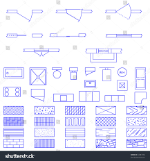 complete set blueprint icons symbols used stock vector 33381700