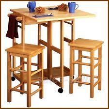 Drop Leaf Dining Table For Small Spaces Breakfast Bar Table Set Stools Kitchen Space Saver Small Island