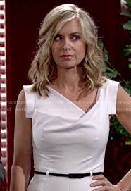 eileen davidson hairstyle 2015 wornontv ashley s white cowl neck jumpsuit on the young and the