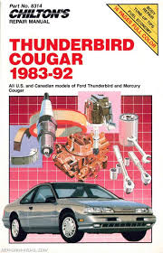 1983 1992 chilton ford thunderbird cougar repair manual