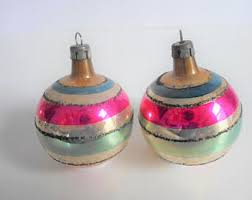 vintage large or jumbo polish glass ornaments set of 3 made