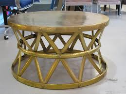 large hammered brass drum table at 1stdibs