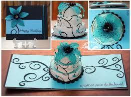 i am not left handed pop up cake card teal black flower