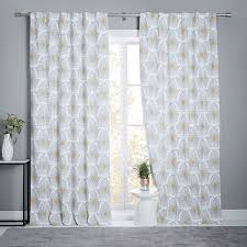 Lined Linen Drapery Panels Stamped Ikat Linen Cotton Curtain Blackout Lining Frost Gray