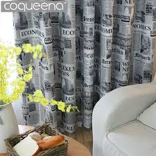 Vintage Style Newspaper Print Blackout Curtains for Living Room