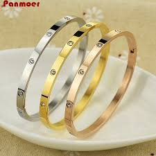 love bracelet rose images Brand new design stainless steel thin love bangle rose gold cuff jpg