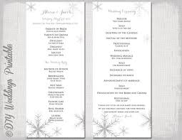 wedding program template winter wedding program template snowflake wedding