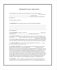 sample equipment rental agreement land lease agreement download