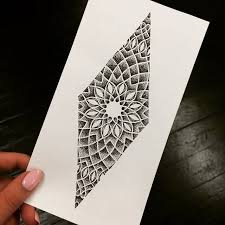 mind blowing classy geometric flower tattoo stencil design